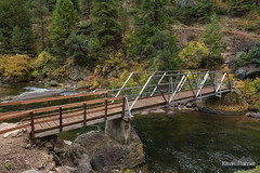 Bridge Over The Tongue (kevin-palmer) Tags: bighornmountains bighornnationalforest dayton wyoming tongueriver tonguerivercanyon flowing water october fall autumn foliage color colorful trail path bridge nikond750 tamron2470mmf28