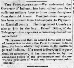 1838 - Potawatomi removed from Marshall county - Richmond Weekly Palladium - 25 Aug 1838