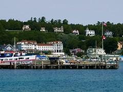 good bye, Mackinac (ekelly80) Tags: michigan mackinacisland august2018 summer upnorth puremichigan docks pier boats sailboats view lake water lakehuron starline houses ridge