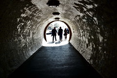 tunnel (Zanahr) Tags: tunnel city budapest hungary people abstract light nikon architecture explore texture