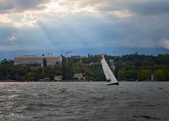Sunrays over Lac Léman (Jhopne) Tags: geneva suisse aug18 lacléman sunray cloud canonef2470mmf28lusm sky genève rays canoneos5dmarkii switzerland yacht