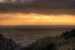 Sun Swept Scenery (HiJinKs Media...) Tags: life light landscape countryside uk houses sun sunset clouds grass trees rocks cliffs sunrays water reflections daysend tramonto delicate homes fences