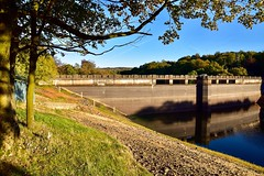 Boathouse and reservoir wall (rustyruth1959) Tags: sunlight shadows goldenhour leaves branch tree structure concrete hill ducks overflow depthmarkers boatshed she'd building evening bluesky sky rocks outdoor trees woodland slipway bank grass lowwater water wall reservoirwall ryburnreservoirwall boathouse ryburndam ryburnreservoir ripponden calderdale england yorkshire uk tamron16300mm nikond5600 nikon alamy