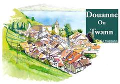 TWANN (spiro_pi10) Tags: twann douanne bienne jurabernois aquarelle suisse switzerland watercolour moleskine vignoble wein
