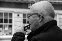 Bigest Vap... If you Must! (WorcesterBarry) Tags: bnw blackandwhite england places people photographers portrait smokers street streetphotography streetphoto candid humour happiness outdoors old monochrome mist lovebw adventure travel funny