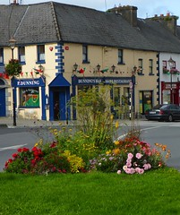 Westport: town square planting (green voyage (trying to catch up)) Tags: westport cathairnamart countymayo mayo maigheo contaemhaigheo connacht connaught ireland towns pubs bars restaurants paintedbuildings townsquares squares flowers flowerbeds banners bunting afternoon autumn september