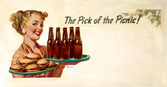 The Pick of the Picnic by Gil Elvgren, c. 1950 (gameraboy) Tags: gilelvgren pinup pinupart illustration painting vintage woman sexy thepickofthepicnic 1950s 1950 beer hamburger cheeseburger