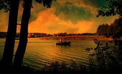 Boat (augustynbatko) Tags: boat lake water anglers nature landscape tree trees sky clouds