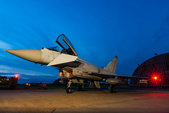Typhoon Alert (Lee532) Tags: typhoon eurofighter fighter plane jet fast military aviation aircraft coningsby nikon d610 tamron airplane sky royalairforce bluehour night longexposure