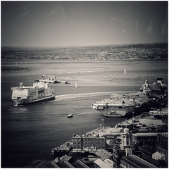 Portsmouth View... (zapperthesnapper) Tags: hmsqueenelizabeth aircraftcarrier ferry portsmouth dockyard brittanyferries