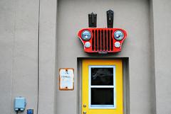 No Parking - North Utica, Illinois (Cragin Spring) Tags: utica northutica northuticail northuticaillinois il illinois midwest unitedstates usa unitedstatesofamerica sign door headlights grill jeep yellow red noparking