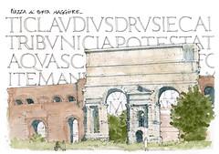 Rome, 2018 (gerard michel) Tags: italia italy roma place porte romain sketch croquis architecture aquarelle watercolour
