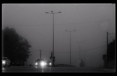 Morning (PattyK.) Tags: snapseed nikond3100 ellada greece grecia griechenland hellas ioannina giannena giannina epirus ipiros balkans ιωάννινα γιάννενα ήπειροσ ελλάδα βαλκάνια city citylife morning fog foggymorning streetsinthecity monochrome blackandwhite πόλη urban urbanlife άσπροκαιμαύρο δρόμοσ πρωί ομίχλη
