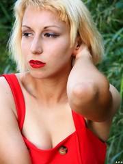 Blonde girl. (KurenaiSutcliff) Tags: model sensual makeup blonde blondegirl girl sexy red redlips pin up pinup lady photoset photoshoot lovely lovelygirl polka dot dotty 50s 40s blondehair elegant 50style 50stylehair woman shorthair short hair photo photogirl redlip street streetwear blondehairstyle makeupgirl