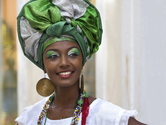 Brazilian Woman Dressed in Traditional Baiana Attire in Pelourinho, Salvador, Bahia, Brazil (terraexperiences) Tags: african america attire bahia bahiana baiana beautiful beauty black brasil brazil brazilian candid cheerful clothing color copyspace costume culture destination earring ethnic ethnicity face fashion female green happiness happy headdress latin makeup minority necklace pelourinho people portrait salvador smiling south street toothysmile tourism traditional travel turban vacations vibrant woman northeastern trail tour terranossa nordeste brazilnordeste