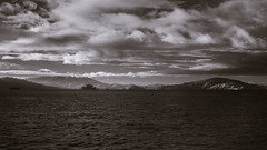 Mount Tamalpais, Alcatraz and Angel Island (fksr) Tags: clouds sky water island mountain landscape mounttamalpais alcatraz angelisland sanfranciscobay blackandwhite infr infrared marincounty california