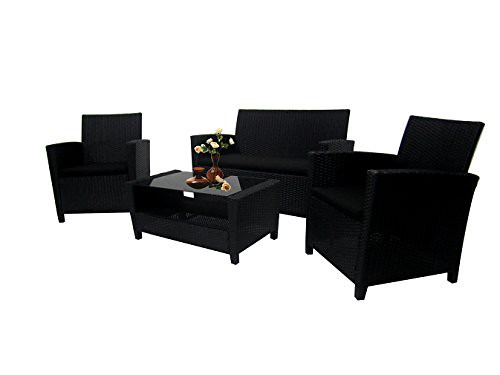 Cheap Richly Outdoor Indoor Furniture Set 4 Pieces Patio Rattan Wicker Sofa Set,Black