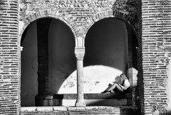 Pause lecture (Josiane D.) Tags: pause lecture girl wall stone blackandwhite perpignan france book