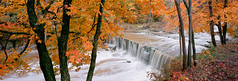 anderson falls pano 1600px (DannyBurkPhotography) Tags: indiana fall autumn color orange linhof 617siii panorama