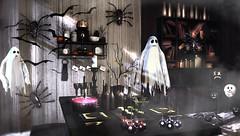 Silly ghosts for dinner (Alexa Maravilla/Spunknbrains) Tags: salem 22769 silence fragments kalopsia mutresse empire secondlife sl decor decorate blog blogger indoors halloween fun orange slholiday slhalloween