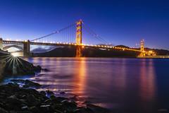 Golden Gate Bridge at Night (_Hadock_) Tags: bridge golden gate red night long exposure river sea sky blue lights flare star nikon tamron amazing travel photography detail creative commons fullhd fondo de pantalla screensaver desktop wall wallpaper