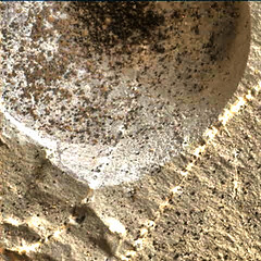 Hole in a Rock, Closer, variant (sjrankin) Tags: 2november2018 edited nasa mars msl curiosity galecrater closeup dust sand hole vein lightcolored rocks 2217mh0006990000802960e01dxxx