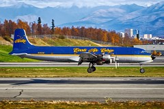 N451CE, Everts Air Cargo, Douglas C-118A Liftmaster, PANC, October 2018 (a2md88) Tags: n451ce dc6 everts evertsaircargo panc anc anchorageairport douglasliftmaster liftmaster c118a c118aliftmaster cargo airline freighter freight