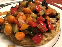 Socca (Niçoise chick pea crêpe) topped with blistered tomatoes, red peppers, zucchini, and cured Thassos olives (TomChatt) Tags: food homecooking parttimevegetarian glutenfree