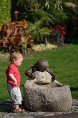 Thirsty Work (Greg Carey) Tags: boy statue water fountain toddler park
