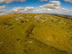 Middle Tor with Kestor Rocks on the Horizon (Marklucylockett) Tags: 2018 dartmoor dartmoornationalpark devon gopro goprohero3 kap kaphq16 kestor kiteaerialphotography marklucylockett october other middletor kestorrocks