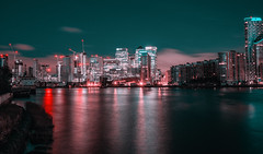 Blue hour over Canary Wharf.. (The all seeing i) Tags: canary wahrf london canon m6 outside outdoors cityscape