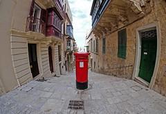 MailBox (www.benedicteladjevardi.com) Tags: malte malta valletta lavalette fisheye 8mm fujifilm samyang red rouge architecture ville street streetphotography mailbox letterbox window door boiteauxlettres sky clouds travel voyage