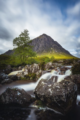 Buachaille Etive Mòr at the River Coupall Waterfall (Photography Revamp) Tags: green buachailleetivemòr rivercoupall river scotland highlands nikon zomei