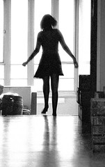 Pauline on the stair, 73 (jonathan charles photo) Tags: bw monochrome movement stairs silhouette miniskirt 70s art photo jonathan charles