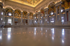 The Library of Congress Great Hall (jtgfoto) Tags: approved libraryofcongress sonyimages sonyalpha washingtondc architecture architecturalphotography iconicbuilding travel greathall ceiling room building reflection wideangle rokinon12mm rokinon columns arches windows