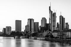 Frankfurt Skyline SW BW (st.weber71) Tags: fluss langzeitbelichtung lzb licht main frankfurt nikon deutschland germany gebäude gegenlicht skyline frankfurtskyline wasser architektur brücke d850 blackandwhite schwarzweiss bw sw monochrome