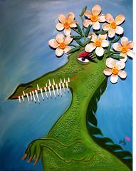 "Painting ""Flowergirl No2"" 2018 (MadArt70) Tags: magnus dacke madart 2018 painting art acrylic canvas akryl duk ny new osby animal dinosaur flowers colors sparkle 3d green blue teath flower no2"