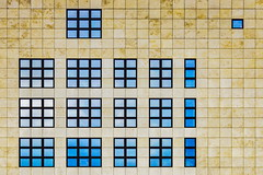 Berlin facade (Maerten Prins) Tags: berlijn duitsland deutschland germany berlin facade window windows color colors colour colours pattern symmetry geometry squares yellow blue abstract urban geometric architecture wall