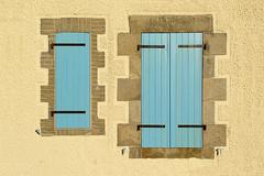 Two blue shutters (Jan van der Wolf) Tags: map17436vve shutters blinden blue blauw windows ramen france wall facade gevel