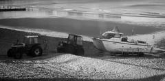 It takes two (wibblefish) Tags: cromer norfolk seaside bw boat fishing trailer tractor double beach