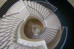 D O W N (Elbmaedchen) Tags: staircase stairwell stairs steps stufen treppenhaus treppenauge treppe roundandround architecture interior upanddownstairs curvy geländer