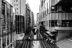 Modern canyons #2 (tokyobogue) Tags: tokyo japan streambuilding nikon nikond7100 d7100 sigma sigma1750mmexdcoshsm urban city people blackandwhite blackwhite monochrome skyscrapers river culvert