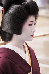 Plum blossom Kyoto (小川 Ogawasan) Tags: japan japon kyoto maiko tea baikasai matsuri openair tradition kimono lady woman kanzashi face portrait makeup lips eyes kitano geiko