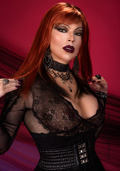 Glamour portrait in lace (Juliapanther Over 58 million views, thanks!!!) Tags: tags julia panther juliapanther model posing tgirl makeup makeover lips lipstick goth gothic lace gown dress dressing pumps choker red hair redhead pink nails leather belt beauty glamour portrait pinup