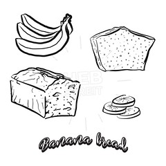 Hand drawn sketch of Banana bread (Hebstreits) Tags: american art baked bakery banana bananabread black bred cake caramel chip chips chocolate cooked cute delicious design dip drawing fancy food fried hand healthy icon illustration ingredients line made moist nuts outline pecans pen quick regional simple sketch slice steamed style sweetbread traditional unitedstates vector walnuts