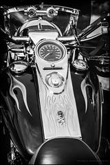 Harley trike (Explored) (G. Postlethwaite esq.) Tags: bw dof derbyshire harleydavidson heage sonya7mkii beyondbokeh blackandwhite bokeh classicbikes depthoffield fullframe handlebar mirrorless monochrome motorbikes petroltank photoborder screen selectivefocus speedometer trike windmill