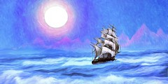 Sailing the Northern Seas (Rusty Russ) Tags: sun ocean wave mountain sailing ship red cliffs colorful day digital art graffiti window flickr country bright happy colour eos scenic america world sunset beach water sky nature blue white tree green light cloud park landscape summer city yellow people old new photoshop google bing yahoo stumbleupon getty national geographic creative composite manipulation hue pinterest blog twitter comons wiki pixel artistic topaz filter on1 tinder russ seidel artist outside