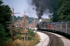 1218 & Fans (DJ Witty) Tags: railroad rr train locomotive passengertrain photography pentaxk1000 nw norfolkandwestern steamlocomotive fujichrome lynchburg virginia usa