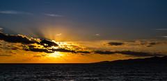 3093 October Sunset, Naxos (foxxyg2) Tags: sun sunset gold blue sky rays aegean naxos cyclades greece greekislands islandhopping islandlife