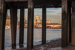 Through the jetty (PhredKH) Tags: bridges canonphotography cityscape fredkh goldenhour iconic iconicbuilding london photosbyphredkh phredkh riverthames southbank splendid thames thamesriver twilight boats cityoflondon dusk people river scencwater sky stuffonwater water jetty beach lowtide city building boat